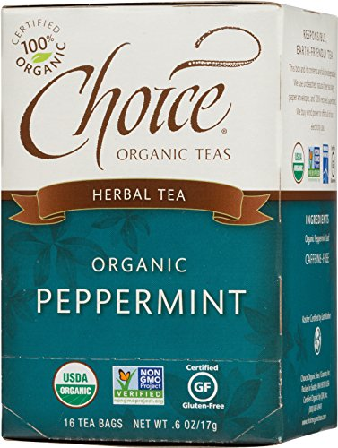 Choice Mint - Choice Organic Teas Caffeine Free Herbal Tea, Peppermint, 16 Count, Pack of 6