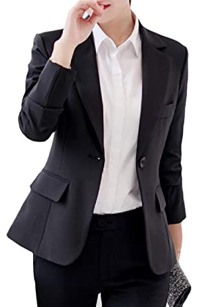 Harwinner Women s Notched One Button Slim Fit Pure Color Blazer Work  Jackets Black XXS ba08dba592