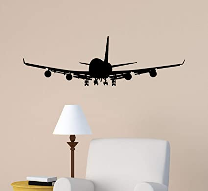 Airplane Wall Decal Jet Airliner Sticker Aircraft Jumbo Jet Boys Bedroom Decor Office College Dorm Room Aviation Decal Flying Jet Mural Amazon Co Uk Baby