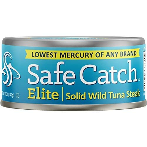 Safe Catch Elite Lowest Mercury Solid Wild Tuna Steak, 5 Ounce Can The Only Brand To Test Every Tuna for Mercury (Pack Of 12) by Safe Catch