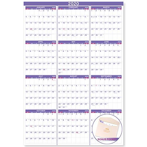 2020 Wall Calendar - 2020 Yearly Full Wall Calendar with Thicker Paper, January 2020 - December 2020, Bonus Pocket, 34.3
