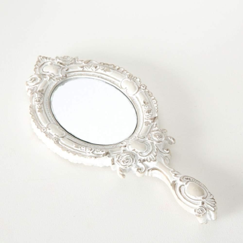 Color Blanco Envejecido Espejo de Mano Resina sint/ética, 30 cm Home Collection