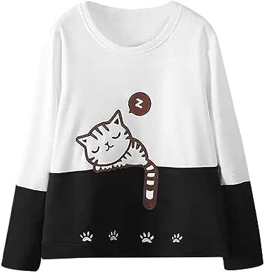 SHOBDW LiquidacióN Ventas Mujeres Manga Larga Lindo Animal De Dibujos Animados SueñO Gato Bordado OtoñO Invierno Sudadera Pullover Tops Blusa: Amazon.es: Ropa y accesorios