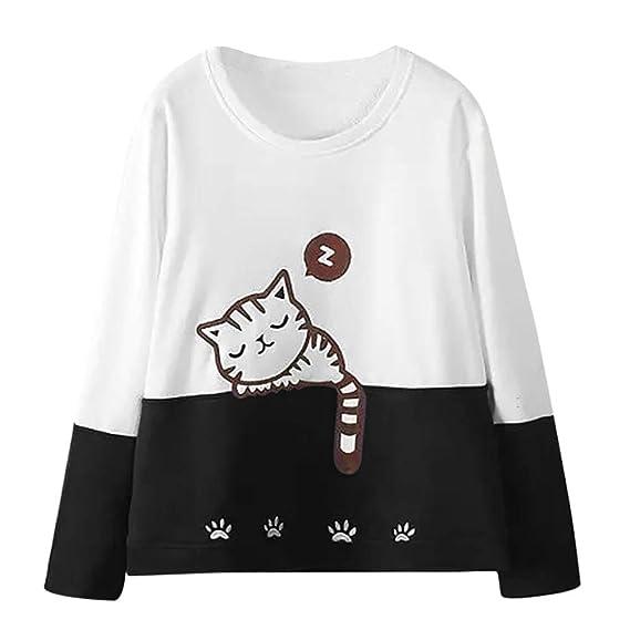 Camiseta Sudadera De Para Gato Mujer Otoño Bordado Larga Moda Manga HgwRxnwP