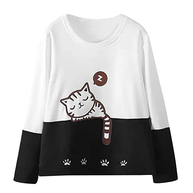 Otoño Sudadera para Mujer Gato Bordado Camiseta de Manga Larga Moda Skinsuits Hooded Blusa Hooded Casuales Capa Tops Jersey ❤Btruely Herren: Amazon.es: ...