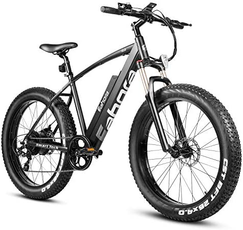 Eahora EX10 26in Beach Cruiser Electric Bike Mountain 350W Snow Electric Bikes for Adults Shimano 7-Speed Gear, Dual Disc Brakes, 36V 10.4Ah Key-Secured Removable Battery, E-PAS Recharge System