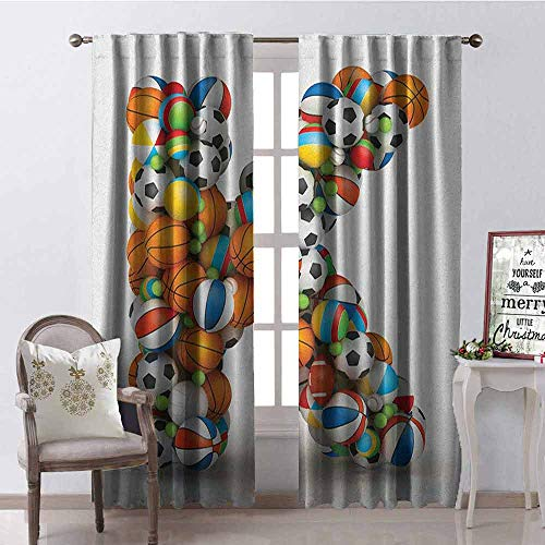 (GloriaJohnson Letter K Blackout Curtain Alphabet Letter with Gaming Balls of Popular Sports Fun Initial Monogram Design 2 Panel Sets W42 x L63 Inch Multicolor)