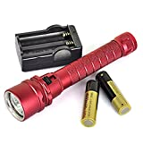 Superlative Popular 100m 3x LED 6000Lm Diving Flashlight Scuba Torch Underwater Magnetic Push Color Red with Battery Charger