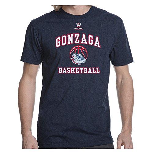 Gonzaga University GU Bulldogs Men's Soft Retro Heathered Basketball T-Shirt - Heathered Navy (Retro T-shirts Basketball)