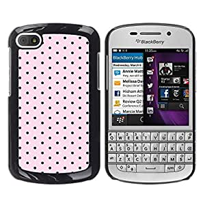 FlareStar Colour Printing Polka Dot Pattern Pink Black Band Aid cáscara Funda Case Caso de plástico para BlackBerry Q10