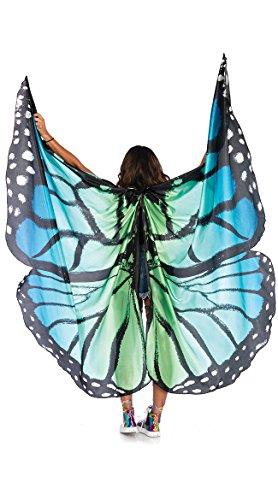 Leg Avenue Women's Festival Butterfly Wing Halter Cape, Blue/Black, One Sizes Fit Most -