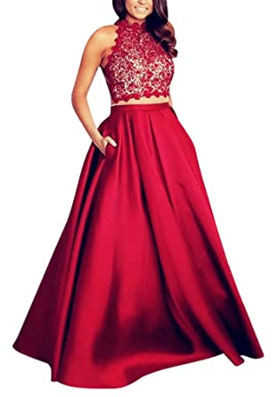 Yangprom Halter Open Back Lace Satin Two-Piece A-Line Prom Dress With Pockets