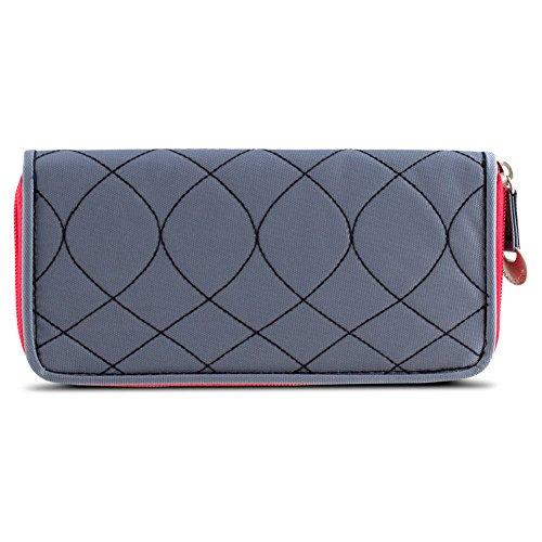 Travelon SafeID Hack-Proof Embroidered Ladies RFID Wallet - Gray/Scarlet