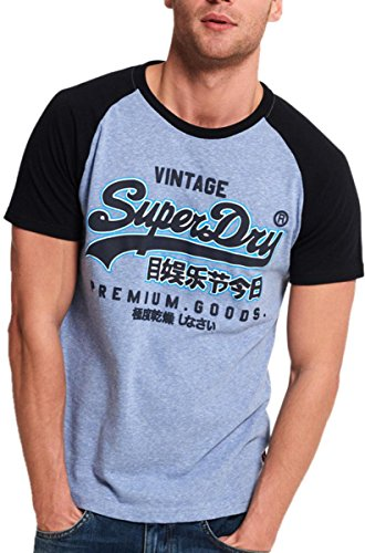 Superdry Herren Langarmshirt Blau Blue Heather/Eclipse Navy