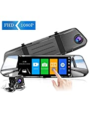 CHORTAU 【2019 New Version】 Mirror Dash Cam 7 Inches Touch Screen Full HD 1080P, Wide Angle Front Camera and Waterproof Rear Camera, Car camera with Emergency Recording, Reverse Monitor System