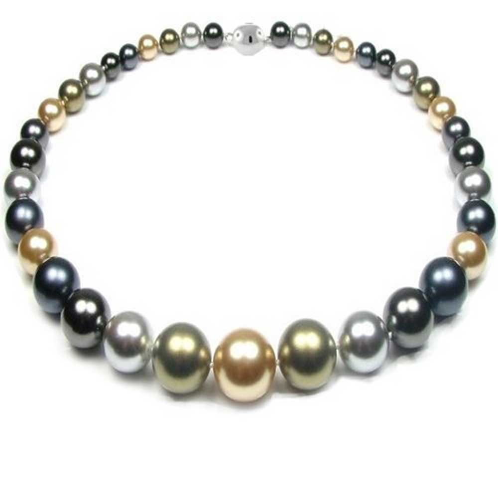 Multi Color Gold Grey Olive Graduated Strand Collar Necklace For Women Simulated Pearl 6mm-14m 18 inch