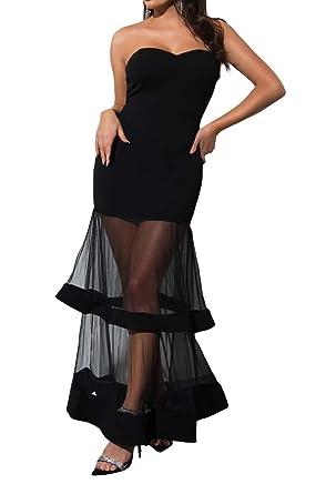 7bae4c2cece2 AKIRA Women's Strapless Sweetheart Neckline Tulle Tiered See Through Skirt  Mini Maxi Gown Dress-Black_S