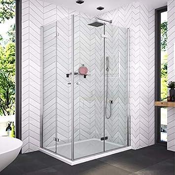 Cabina de ducha con puerta corredera, puerta doble plegable 180o, puerta oscilante, puerta de esquina, mampara de ducha con cristal de seguridad de 6 mm, puerta de ducha plegable (altura: 1850 mm):