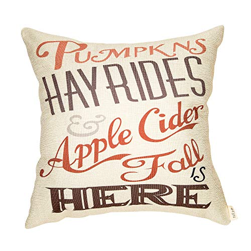 Rustic Apple (Fjfz Rustic Fall Sign Pumpkins Hay Rides Apple Cider Fall is Here Thanksgiving Day Quote Cotton Linen Home Decorative Throw Pillow Case Cushion Cover Words Sofa Couch, 18