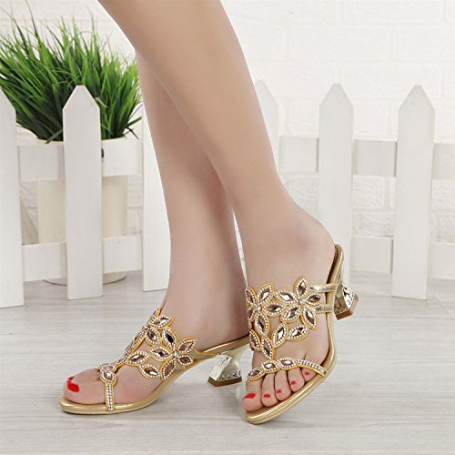 Slippers Heel Party amp; Dress Sandals Crystal Evening Women's for Summer Block Toe Flops amp; Pointed Crystal Chunky PU Shoes Flip Heel C Heel Comfort wqYRvX