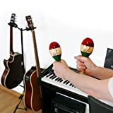 MARACAS & LARGE REAL WOOD RUMBA SHAKERS Set of 2 - Latin Hand Percussion With Full, Bright Vibrant Sound Quality and Great Musical Instrument Stimulating Salsa Rhythm - Rattle With Party Fun