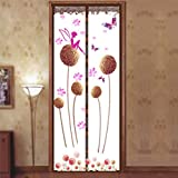 Magnetic Fly Screen Door, Dandelion Pattern Magnetic Fly Insect Screen Door Screen Mesh Curtain Fits Door, Magic Curtain Door Mesh (100210,brown)