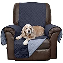 Furhaven Pet Furniture Cover | Two-Tone Reversible Water-Resistant Living Room Furniture Cover Protector Pet Bed for Dogs & Cats, Navy & Light Blue, Chair