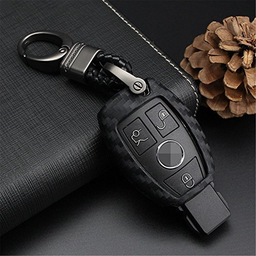 M.JVisun Soft Silicone Rubber Carbon Fiber Texture Cover Protector For Mercedes-Benz Fob, Car Key Fob Case For Mercedes A C E S Class GLK CLA GLA GLC GLE CLS SLK AMG E260l C200l - Black-Weave Keychain