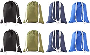 Ezek Thickened 210 Denier Polyester Oxford Organizing Storage Drawstring Sack Bag Water-Resistant for Clothes, Laundry, Accessories, Stationery, Toys, Indoor Home Outdoor Travel, Multicolor, 8-Pack