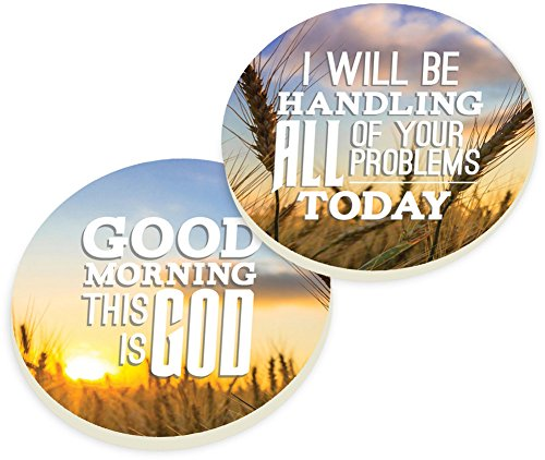 Automotive Beverage Holder Coaster Set of 2 - Good Morning This Is God, I Will Be Handling All Of Your Problems Today