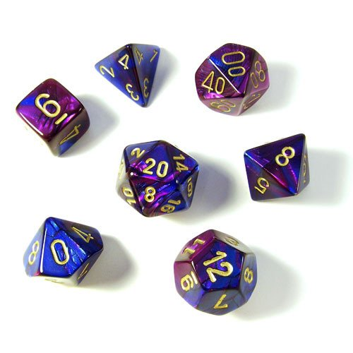 Chessex CHX26428 Dice-Gemini Set, Blue/Purple/Gold