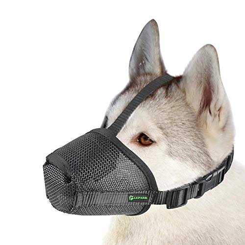 Lepark Nylon Mesh Dog Muzzle with Overhead Strap for Small,Medium and Large Dogs,Anti Biting, Barking and Chewing,Ajustable and Breathable(L,Black)