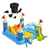 Blow Up Above Ground Pool Swimming Water Slide Castle, Backyard Pool Party Fun Splash Play for Kids/toddlers + Intex Quick Air Pump