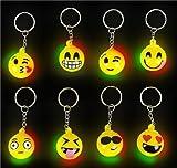 Flashing LED Light Up Toys, Emoji face keychain, 12–Pack, 1 Dozens