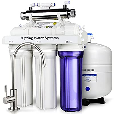 Ispring Rcc7U Wqa Gold Seal 6Stage 75Gpd Reverse Osmosis Water Filter System With 11W FlowSensor Uv Sanitation Stage Ideal For Well Water