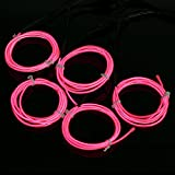 Amicc 5*1 Metre Neon Light El Wire Battery Pack for Parties, Halloween Decoration (Pink)