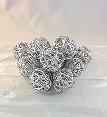 2 Packages Olivia Decorative Spheres of 6- Silver Rattan Ball Twig Grapevine Vase Fillers Balls Ornament Decoration Bowl Filler Great For Crafting 2.25 inches-12 Pcs
