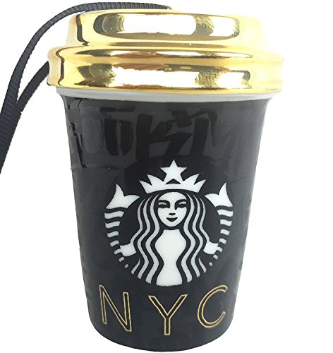 Starbucks Ornament 2015 NYC Hanging Cup Siren Black
