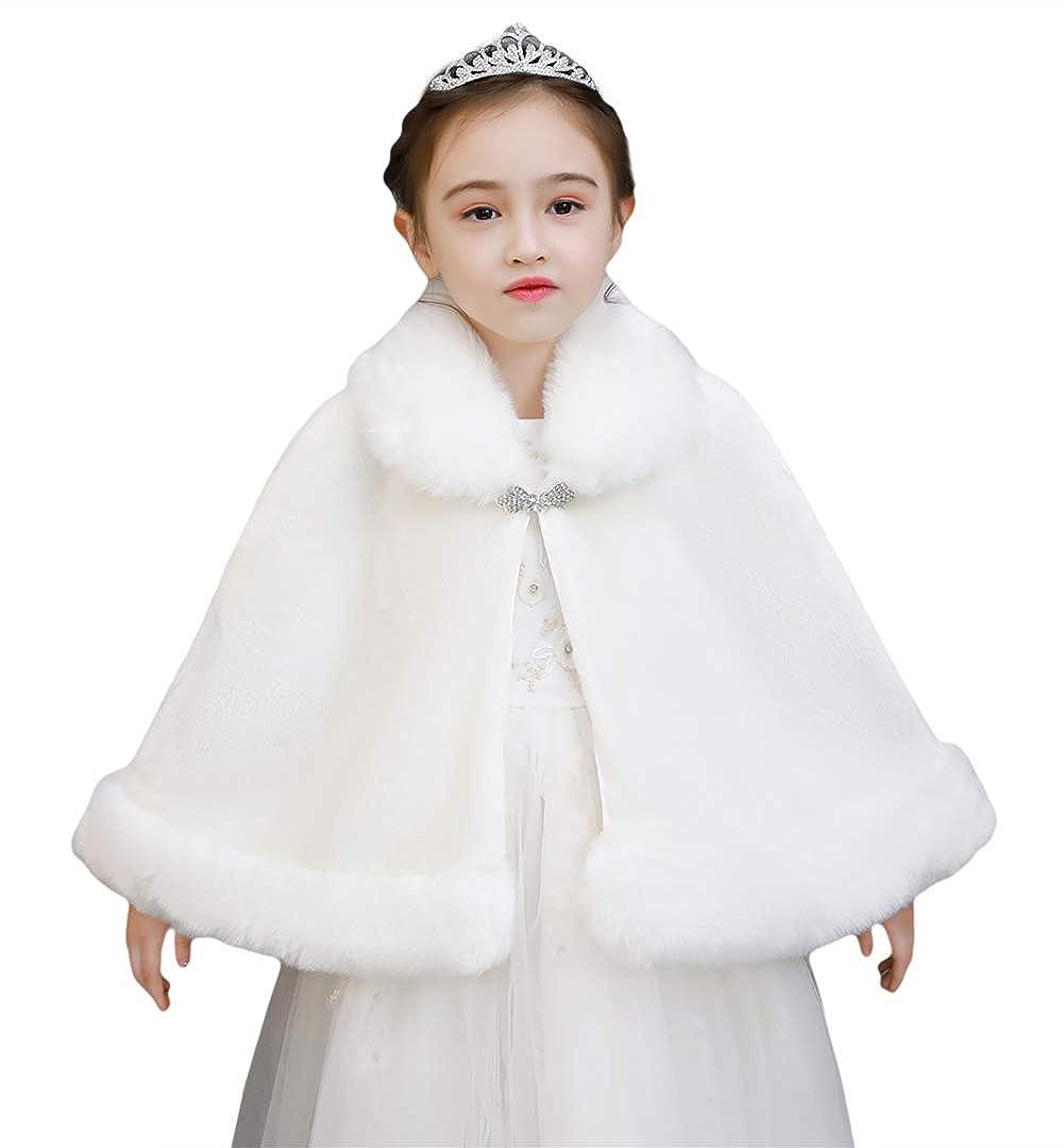 Liveinu Girls Faux Fur Shawl Flower Girl Wraps Cape Princess Cute Wedding Bolero Shrug Dress Coat