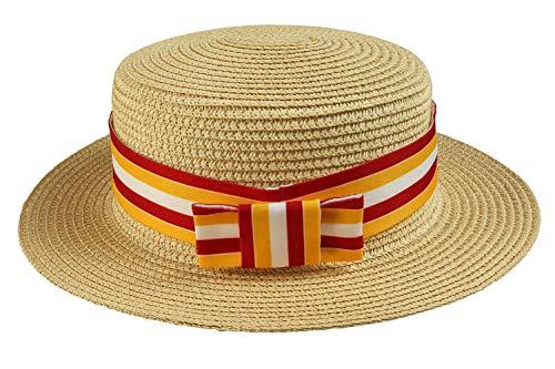 GreenCos Straw Skimmer Hat Bert Cosplay Cap 20's Costume Accessories Brown