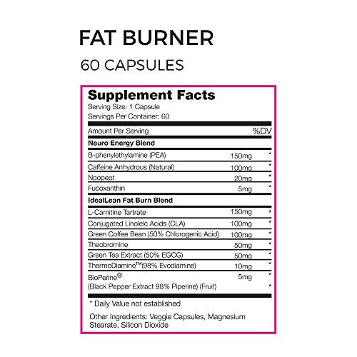 IdealLean Fat Burner For Women, Green Coffee Bean, Green Tea, L-Carnitine, CLA, 60 servings