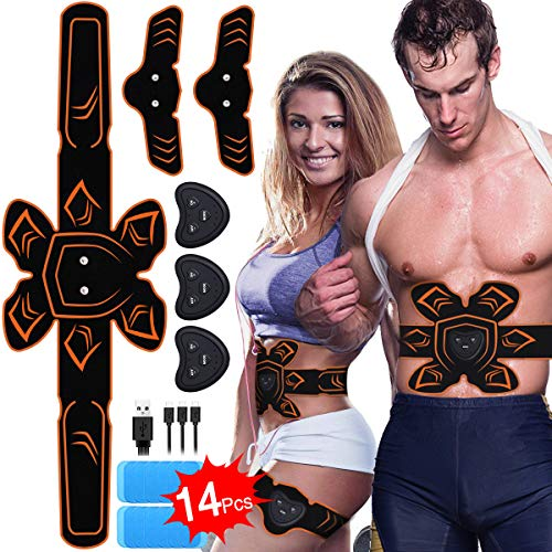 ABS Stimulator Muscle Toner Rechargeable Abdominal Toning Belt, EMS Abdomen Muscle Trainer Fitness with 6 Modes 10 Levels for Men Women Abdomen/Arm/Leg Training, Free 14pcs Gel Pads (Free Trainer)