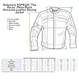 Xelement XSPR105 'The Racer' Mens Black Armored Leather Racing Jacket - Large