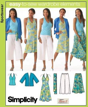 SIMPLICITY PATTERN 4193 MISSES'/WOMEN'S LIMONO JACKET, SASH AND KNIT GAUCHO PANTS AND DRESS OR TOP SIZE BB 20W-28W ()