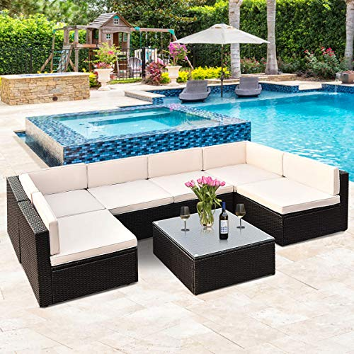 Tangkula Patio Furniture Set 7 Piece Outdoor Lawn Backyard Poolside All Weather PE Wicker Rattan Steel Frame Sectional Cushined Seat Sofa Conversation Set Black Wicker