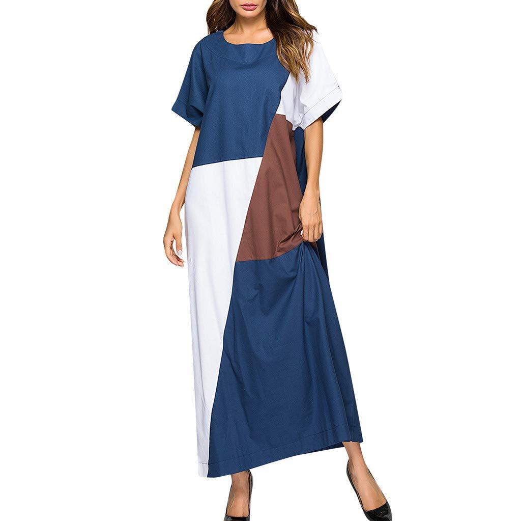 Women's Vintage Patchwork Print Short Sleeve Ladies O-Neck Ankle-Length Dress Blue