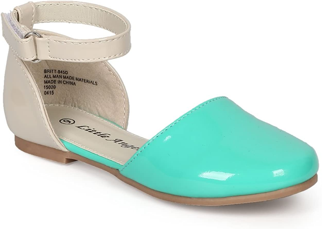 CH91 Teal//Beige Size: Toddler 10 Toddler Little Angel Girl Patent Two Tone Dorsay Round Toe Ankle Strap Flat