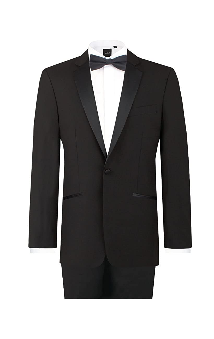 Dobell Mens Black 2 Piece Tuxedo Regular Fit Notch Lapel