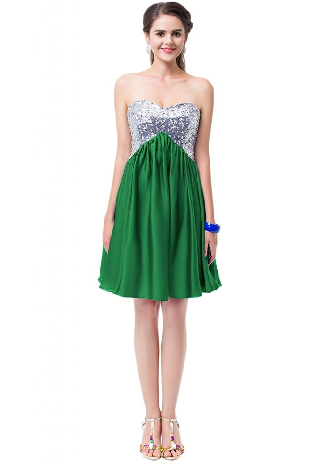 Sunvary Crystal Accented Women Short Column Sexy Lace up Party Pageant Dress