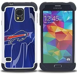 """SAMSUNG Galaxy S5 V / i9600 / SM-G900 - 3 en 1 impreso colorido de Altas Prestaciones PC Funda chaqueta Negro cubierta gel silicona suave (Bisonte"""")"""